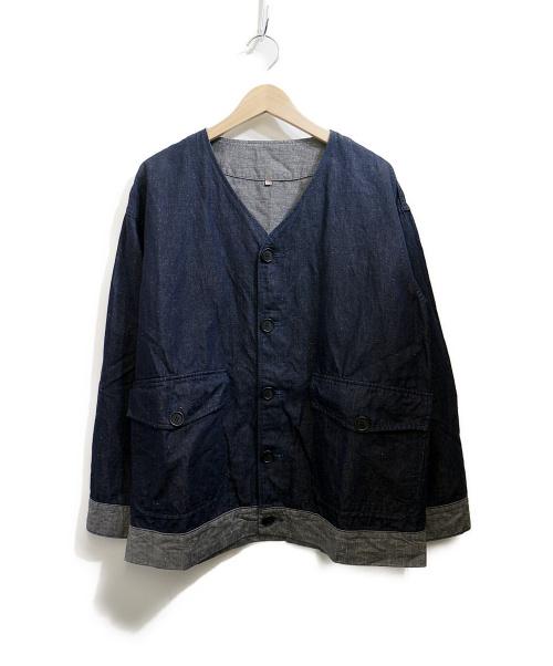 YOKOSAKAMOTO(ヨウコサカモト)YOKOSAKAMOTO (ヨウコサカモト) ノーカラーブルゾン インディゴ サイズ:Mの古着・服飾アイテム