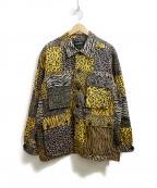ELVIRA(エルビラ)の古着「アニマル柄パッチワークジャケット」|イエロー×ベージュ