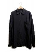 COMOLI(コモリ)の古着「レーヨン オープンカラーシャツ」|ブラック