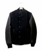 LOUNGE LIZARD(ラウンジリザード)の古着「スリーブレザーブルゾン」|ブラック