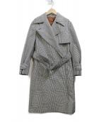DES PRES(デ・プレ)の古着「コットンポリエステルグレンチェック トレンチコート」|ホワイト×ブラック