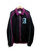AWAKE(アウェイク)の古着「フルスナップフリースジャケット」|ブラック×パープル