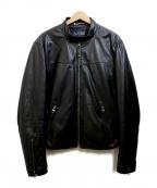 ARMANI JEANS(アルマーニジーンズ)の古着「中綿レザージャケット」|ブラック