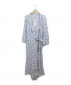 GANNI(ガニー)の古着「Printed Georgette Wrap Dress」|ブルー