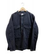 YSTRDYS TMRRW(イエスタディズトゥモロー)の古着「バンドカラーデニムプルオーバージャケット」|ブラック