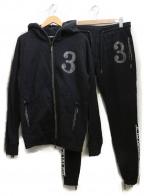 1piu1uguale3(ウノピゥウノウグァーレトレ)の古着「ラインストーンセットアップ」|ブラック
