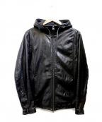 Shama(シャマ)の古着「フーデットレザージャケット」 ブラック