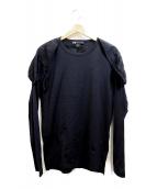 ()の古着「メッシュデザインショルダーカットソー」|ブラック