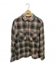 NEIGHBORHOOD (ネイバーフッド) ネルシャツ グレー×ネイビー サイズ:L