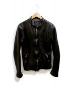 ISAMU KATAYAMA BACKLASH(イサムカタヤマ バックラッシュ)の古着「ジャパンカーフ製品染めシングルライダース」|ブラック