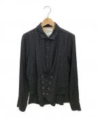 SHAREEF(シャリーフ)の古着「レイヤードニットシャツ」 ブラック