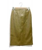 ()の古着「フェイクレザータイトスカート」|オリーブ