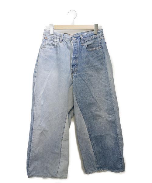 sunny side up(サニーサイドアップ)sunny side up (サニーサイドアップ) リメイクデニムバギーパンツ ブルー サイズ:表記無しの古着・服飾アイテム