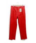 BERNARD ZINS(ベルナルド ザンス)の古着「コットンツイル2プリーツワイドパンツ」|レッド