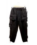 DANKE SCHON(ダンケ シェーン)の古着「マルチポケットナイロンカーゴパンツ」|ブラック