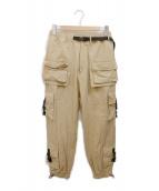 DANKE SCHON(ダンケ シェーン)の古着「マルチポケットナイロンカーゴパンツ」|ベージュ