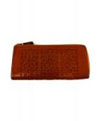 ()の古着「カットワークL字ファスナー長財布」|ブラウン