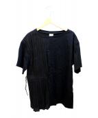 ()の古着「プリーツコンビカットソー」|ブラック