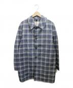 MACKINTOSH(マッキントッシュ)の古着「チェックステンカラーコート」|ブルー