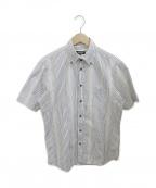 BLACK LABEL CRESTBRIDGE()の古着「半袖ストライプシャツ」 ホワイト
