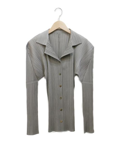 PLEATS PLEASE(プリーツプリーズ)PLEATS PLEASE (プリーツプリーズ) プリーツシャツ グレー サイズ:4の古着・服飾アイテム