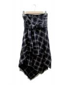 AULA(アウラ)の古着「CHECK SHIRT SKIRT」|ブラック