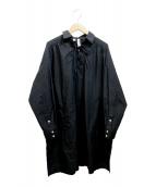 ()の古着「LACE UP TUNIC SHIRT」|ブラック