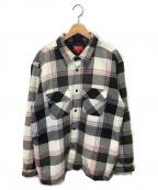 SUPREME()の古着「キルテッドフランネルシャツ」|ピンク×ブラック