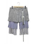 ()の古着「切替パンツ」|グレー×ブルー