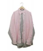 ()の古着「cotton stripes mix layered shi」|ピンク