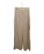 Ameri VINTAGE(アメリビンテージ)の古着「LAYERED WIDE PANTS」|ベージュ