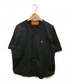 UNIVERSAL OVERALL(ユニバーサルオーバーオール)の古着「別注ベースボールシャツ」 ブラック