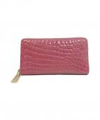 ノーブランド(ノーブランド)の古着「クロコダイル長財布」 ピンク