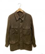 BROWN by 2-tacs(ブラウンバイツータックス)の古着「リネンラミーミリタリージャケット」 ブラウン