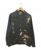 OLD PARK(オールドパーク)の古着「リメイクオープンカラーチャイナシャツ」|ブラック