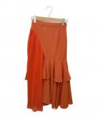 Ameri VINTAGE(アメリヴィンテージ)の古着「マーメイドアシンメトリーフレアロングスカート」 オレンジ