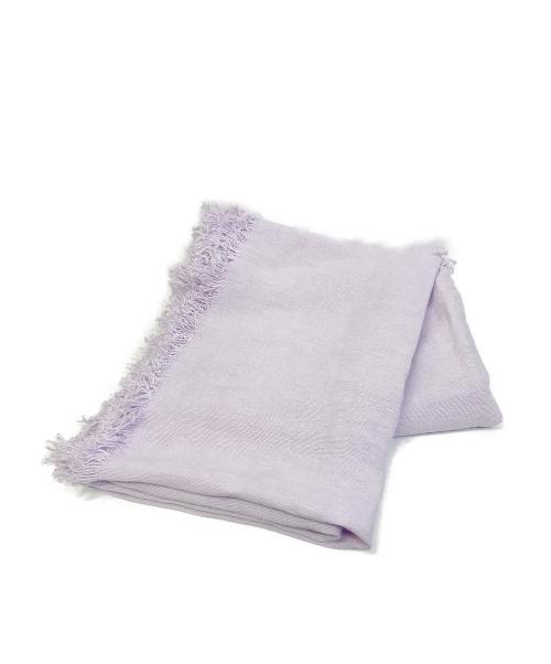 ASAUCE MELER(アソースメレ)ASAUCE MELER (アソースメレ) ベルギーリネンフリンジストール パープルの古着・服飾アイテム