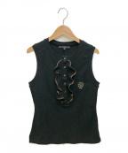 GUCCI(グッチ)の古着「ノースリーブフリルポロシャツ」|ブラック