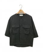 eN ROUTE(アンルート)の古着「ナイロンオックスノーカラー2ポケットショートスリーブ」|ブラック