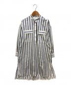 ticca(ティッカ)の古着「バンドカラーシャツワンピース」 ホワイト×ブルー