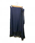 emmi atelier(エミアトリエ)の古着「シースルーエプロンスカート」 ネイビー