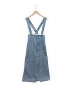 ()の古着「コットンデニム2-wayハイウエストジャンパースカート」|インディゴ