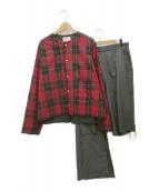 ()の古着「再構築ノーカラージャケット」|レッド×グレー