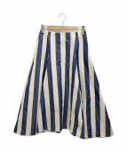 ()の古着「フレアスカート」 ブルー×ホワイト