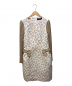 M'S GRACY(エムズグレイシー)の古着「ニット切替ワンピース」|ホワイト×ベージュ