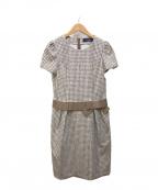 M'S GRACY(エムズグレイシー)の古着「ウエストリボンワンピース」|ベージュ