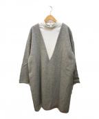 ENFOLD(エンフォルド)の古着「HIGH-NECKED DRESS」|グレー