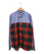 ()の古着「チェック切替シャツ」 ブルー×グリーン