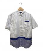 COMME des GARCONS HOMME(コムデギャルソン オム)の古着「半袖シャツ」 ホワイト×ブルー
