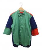 COMME des GARCONS HOMME DEUX(コムデギャルソン オム ドゥ)の古着「配色シャツ」|グリーン×ネイビー
